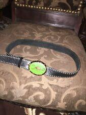 Leatherock Scorpion Alpaca Silver Buckle Leather Belt Made In Sun Diego USA