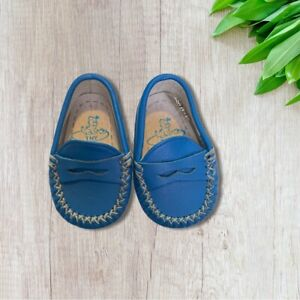 TNY Baby Crib Shoes Loafers 16 Made In Spain Blue 0-3 Months