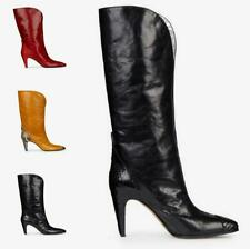 Plus Size 34-48 Women High Heel Stiletto Pointed Toe Real Leather Mid Calf Boots