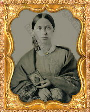 CIVIL WAR Sweetheart Photo of Confederate Soldier's Lady Vintage 8x10 Lovely RP