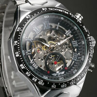 Fashion Men's Automatic Mechanical Stainless Steel Skeleton Sport Wrist Watch