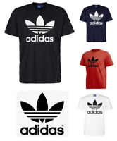 Adidas Mens T Shirt Trefoil Logo Short Sleeve Graphic Crew Neck Solid Brand New