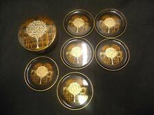 HANDCRAFTED OTAGIRI ORIGINAL JAPAN GOLD/SILVER TREE BOX W/6 COASTERS SET BLACK