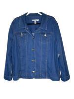 Croft & Barrow Woman Jean Jacket Stretch Denim Blue  Long Sleeves Size XL