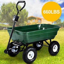 660LBS Heavy Duty Garden Dump Cart Dumper Wagon Wheel Barrow Air Tires Carrier