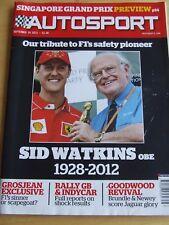 AUTOSPORT MAGAZINE SEP 2012 SID WATKINS OBE TRIBUTE GROSJEAN RALLY GB GOODWOOD