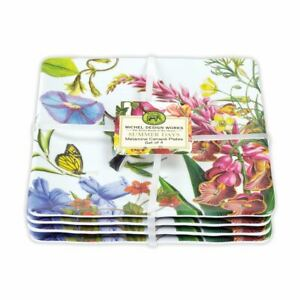 "Set / 4 Michel Design Works Melamine 6""  Canape Plates Summer Days Floral - NEW"