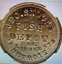 Detroit, Mich Civil War Store Card Token Snook Fish Dealer Ngc Graded Scarce !