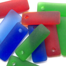 SALE Destash Mixed 32x12mm Long Rectangle Ocean Beach Sea Glass Frosted Charms