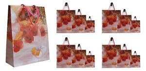 24x Geschenktüte Geschenktasche Geschenkverpackung mit Kordel Griff Rose 3 Größe