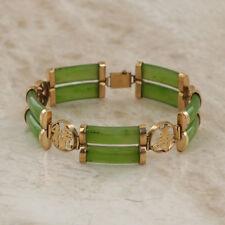 Jade Double Bar 14ct Yellow Gold Bracelet