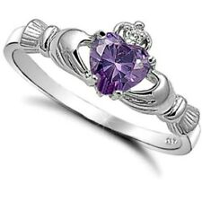 .925 Sterling Silver Ring size 8 CZ Claddagh Heart Amethyst Midi Ladies New