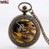 Vintage Retro Bronze Dragon Quartz Necklace Pocket Watch Men Chain Gift Pendant