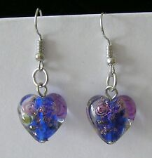 1 NEW PAIR GLASS HEART EARRINGS BLUE LILAC PATTERN LADIES WOMEN TEENS LOVE 37mm