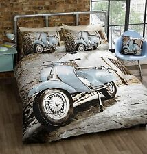 SCOOTER KING bed QUILT DOONA COVER SET NEW RETRO MOTOR BIKE INDUSTRIAL
