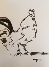 "JOSE TRUJILLO Modern Contemporary ABSTRACT EXPRESSIONIST INK WASH 18X24"" Rooster"