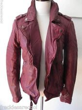 NWT MUUBAA NIDO RED OXBLOOD QUILTED LEATHER SKINNY BIKER JACKET US 6 S UK 10
