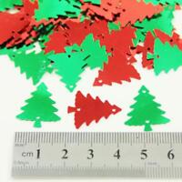 30g RED or GREEN CHRISTMAS TREE & HOLLY LEAF SHAPED SEQUIN EMBELLISHMENTS CRAFTS