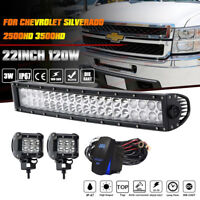 "For 2011-14 Chevrolet Silverado 2500HD 3500HD 22""In Hidden Bumper LED Light Bar"
