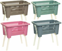 Large Rattan Plastic Laundry Basket With Retractable Feet Large Washing Basket