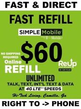 SIMPLE MOBILE PREPAID REFILL $60