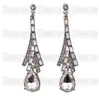 6cm LONG DROP EARRINGS elegant AUSTRIAN CRYSTAL glass rhinestone SILVER TONE