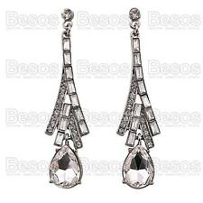 6cm LONG DROP EARRINGS elegant AUSTRIAN CRYSTAL glass rhinestone SILVER TONE