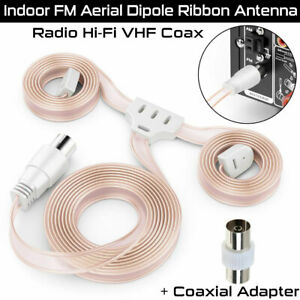 Indoor FM VHF Aerial FM Radio Hi-Fi Dipole Ribbon Antenna + FREE Coax Adapter