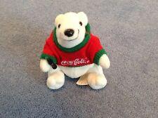 Coca Cola Bean Bag Plush Polar Bear in Red/Green Sweater 1997