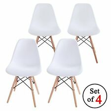 BIG DEARL 4 Eames Style Lounge Dining Chair White Plastic Cover Wood Legs New