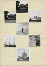 Lot 7 photos anciennes collées  extrait d'album - Plage mer femme enfant maison