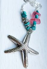 Pink sea glass, magnesite bead & chunky starfish pendant silver necklace
