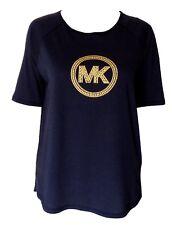 Michael Kors Top T Shirt Medium True Navy w/ Gold Studded MK Logo NWT $64