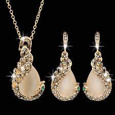 Damen Fasan Kristall Strass Anhänger Halskette Ohrringe Schmuck-set Elegant