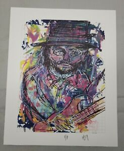 Les Claypool of Primus blotter art by Kyle James signed printers proof