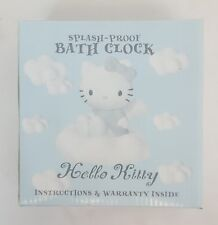 Vtg1999 Sanrio HELLO KITTY Blue ANGEL Splash Proof BATH CLOCK w Towel Hanger NEW