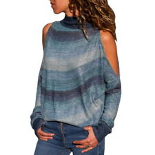 Women Winter High Neck Cold Shoulder Sweater Ladies Pullover Jumper Tops Blouses
