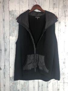 Eileen Fisher Black Wool Nylon Vest Jacket Sweater Full Zip Sleeveless Size 1x