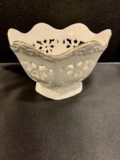Paul Sebastian Bowl Lattice Work Ivory with Gold Trim Limited Edition 1996 Ps