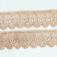 3 Yds  Flower Hollow Khaki Motif Venise Lace Trim Sewing Craft Lace Trim