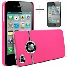 PINK & SILVER CHROME HARD CASE FOR IPHONE 4/4S With Screen Protector & ClothDoes