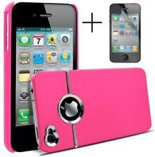 Rosa y plateado cromo Funda Rígida Para Iphone 4/4s Con Protector De Pantalla & clothdoes