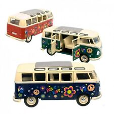 Modellauto VW T1 Flower Power Bus Volkswagen Spielzeugauto Retro Camper 17,5 cm
