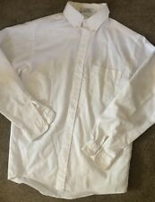Van Heusen Boys Shirt Button Down White Oxford Cloth Cotton Dress Uniform LS 18