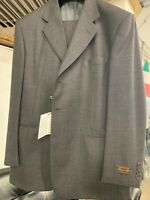New 46R 3 Button Men's Grey Pin Dot Suit 100% Wool Made in Italy Retail $1295