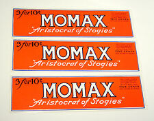 Lot of 3 Momax Aristocrat Stogies Tobacco Cigar Label Unused NOS New 1920-30s