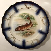 """Antique Flow Blue Luncheon """"Fish"""" Plate by Sterling China"""