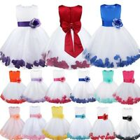 Flower Girls Princess Dress Wedding Bridesmaid Party Formal Baptism Bow Gown Set
