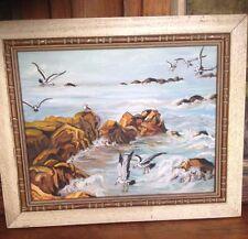 1950s/ 60s Vintage Seaside Oil Painting by Elizabeth Reed Brent
