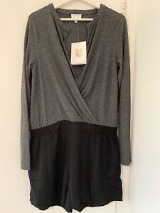 Witchery Grey Marle Knit Splice Playsuit Size 14 NWT (lc14)